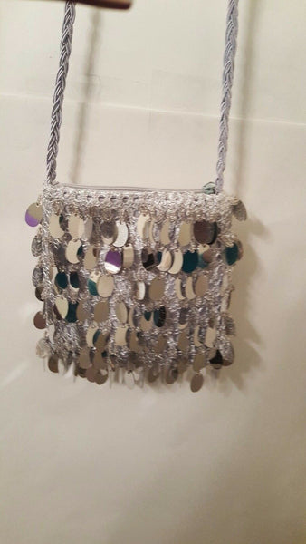 Womens Silver Gray And Brown Costume Purse