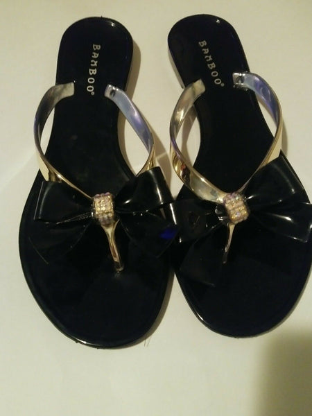 Womens Black Jelly Bowtie Sandals