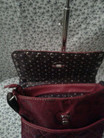 Womens G Burgundy Small Cross Body Messendger Purse