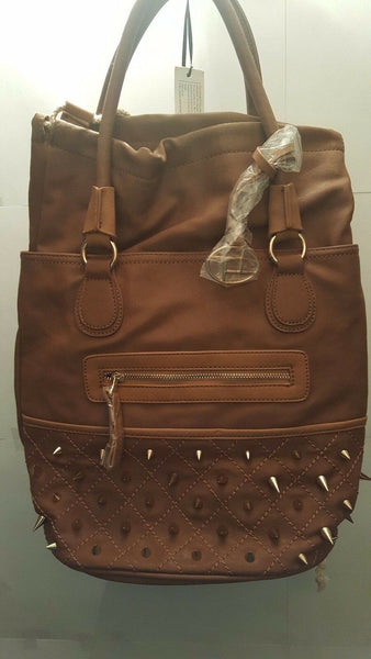 Womens Coffee Colored Spike Armor Bucket Bag Purse
