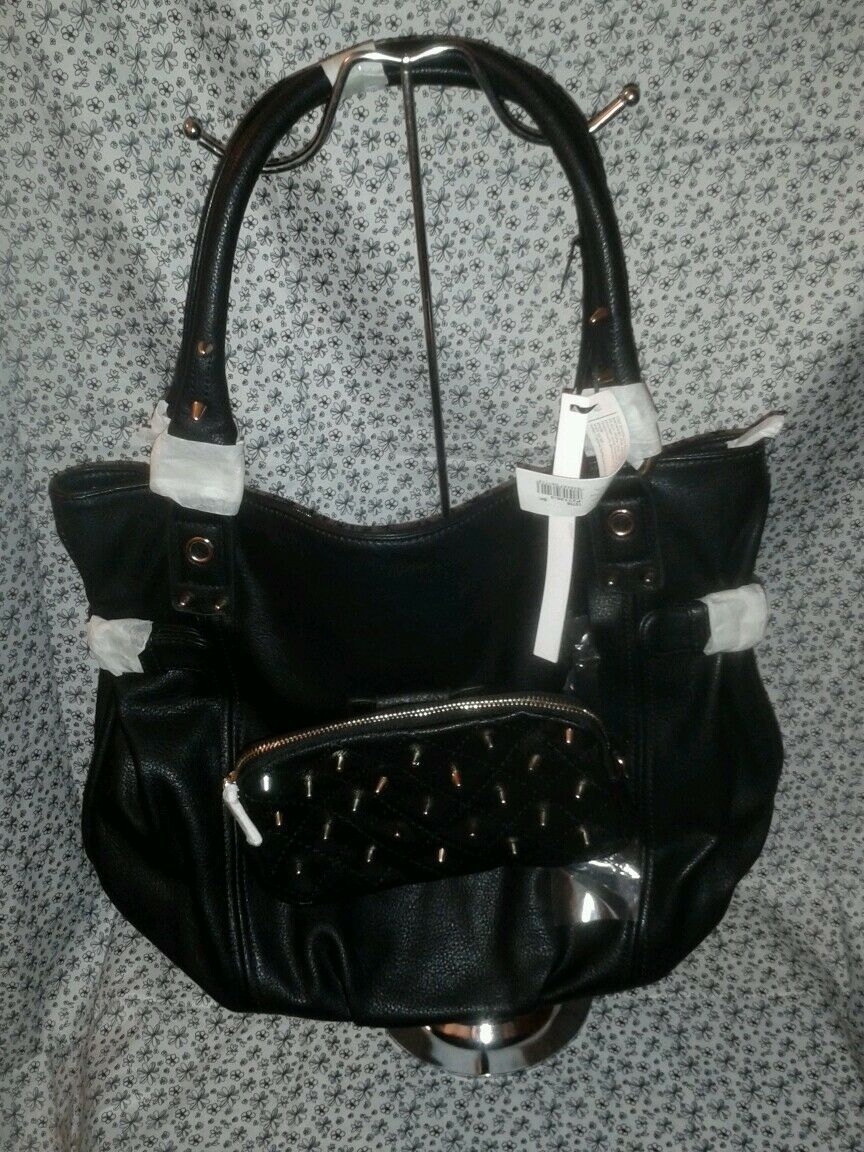 Womens Black Rock Star Casual Purse With Spikes On It