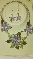 Womens Flower Bloom Choker Statement Earring And Necklace Set