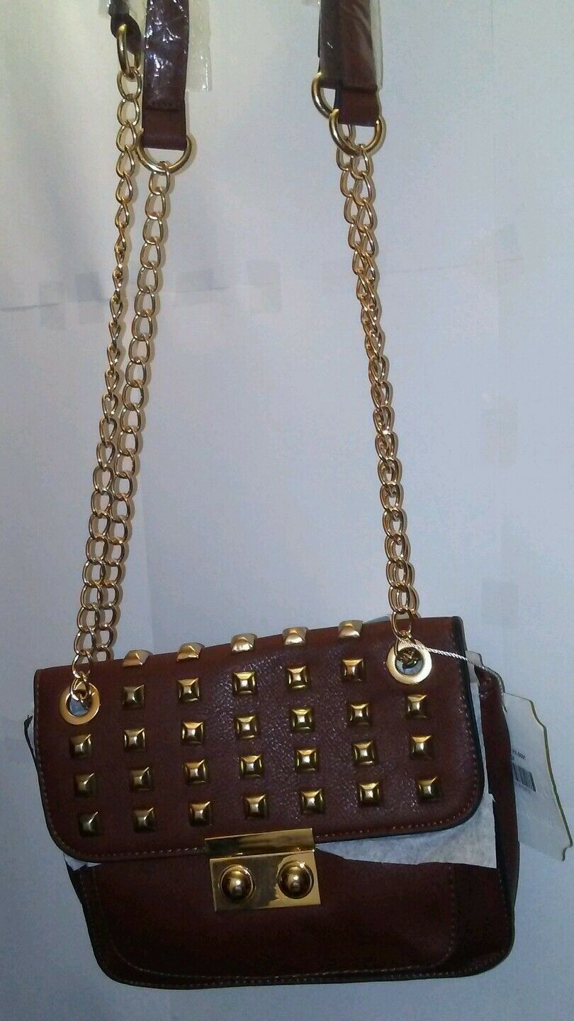 Womens Brown Shoulder Purse with Brass Colored Studs with a Chain S