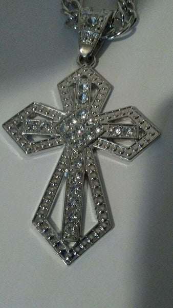 Fashion Christian Cross Rhinestone Statement Piece Necklace