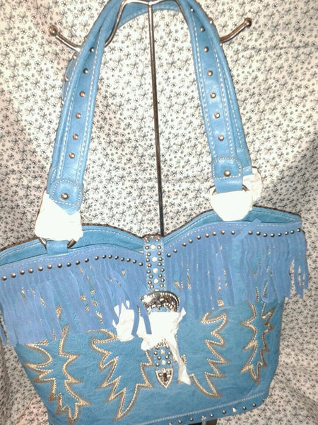 Montana West Cowgirl Turquoise Purse with a Rhinestone Cross on the Buckle
