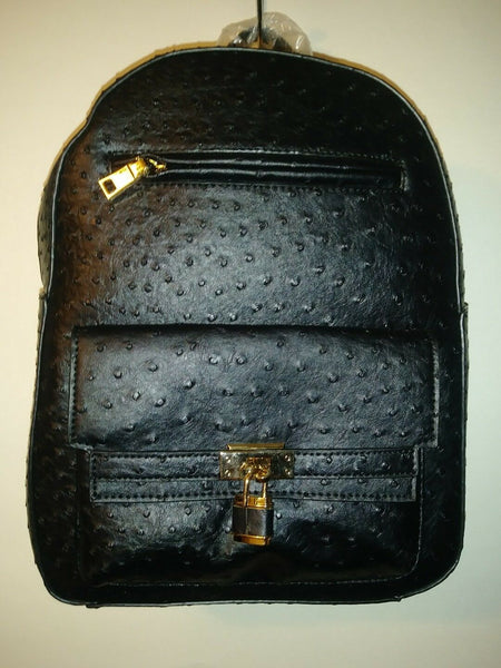 Womens Black Colored Ostrich Leather Inspired Book bag Purse