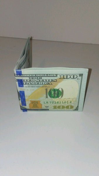 100$ One Hundred Dollar Bill Printed Thin Benjamin BiFold Wallet Fashion
