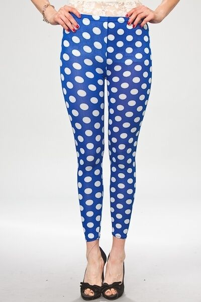 Womens Blue and White Polka Dot Leggings S M L