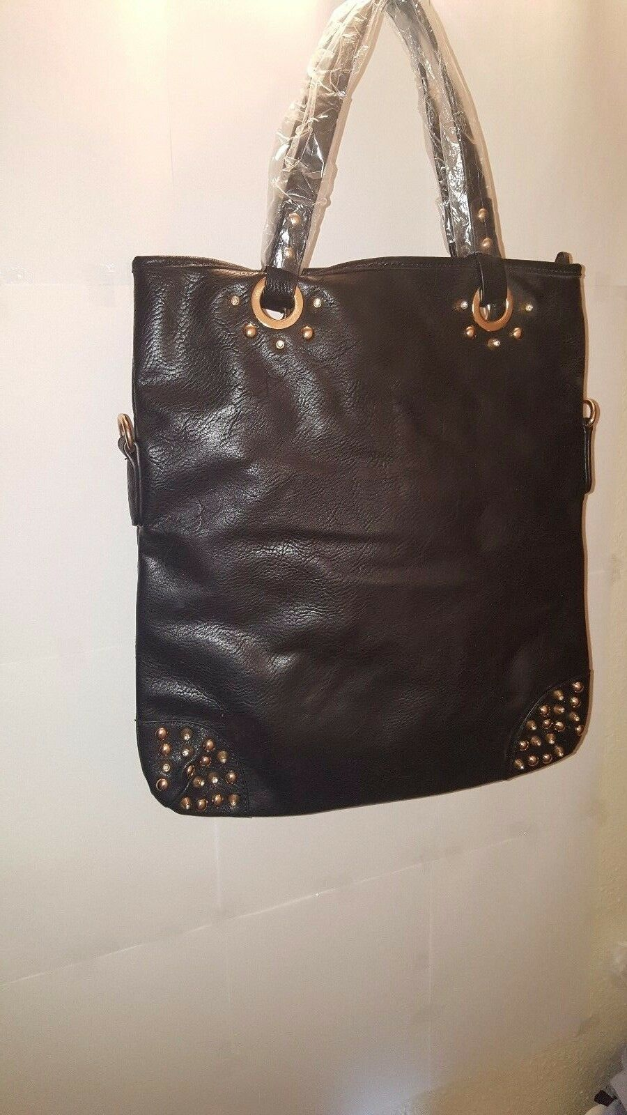 Womens Black Leather Tote Bag with  Gold Studs And Rhinestones