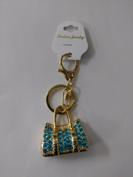 Blue Turquoise Rhinestone Purse Keychain Key Holder.