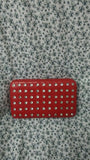 Womens Extra Large Red Rhinestone  Casual Wallet