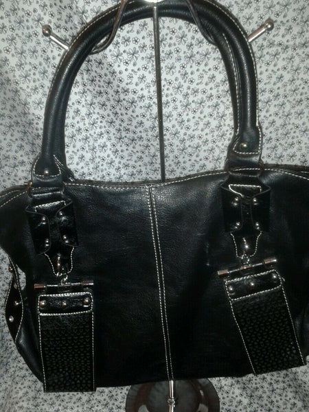 Black Casual Shoulder Handbag Purse with Buckle Details and Rhinestones