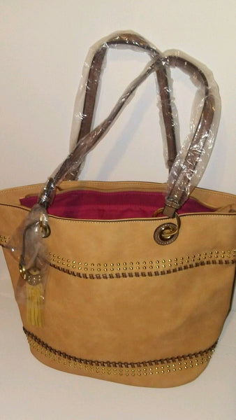 Womend Tan Beige Tote Shopping Handbag Purse with Fringes
