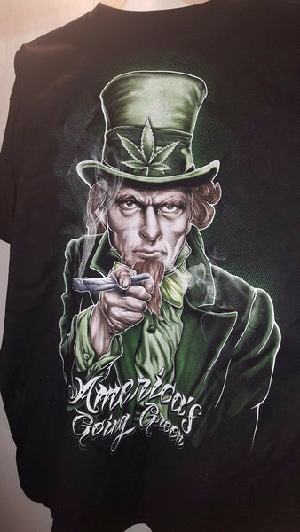 MARIJUANA UNCLE SAM AMERICA'S GOING GREEN T-SHIRT SHIRT
