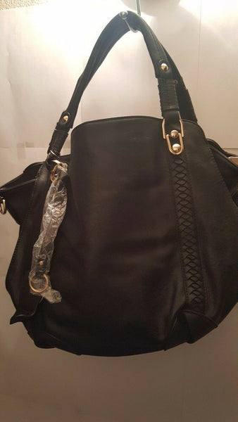 Womens Black Bean Braided Designed Shoulder Messenger Purse