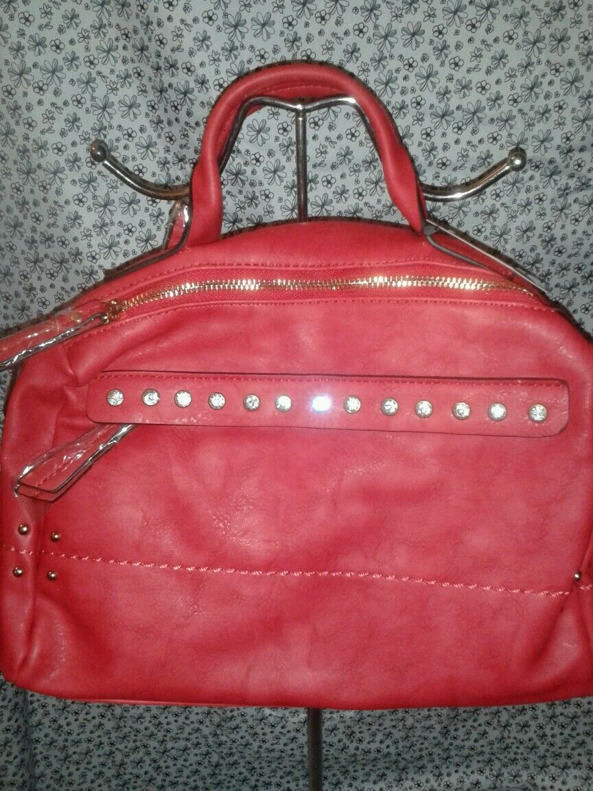 Diophy Womens Red Evening Shoulder Purse With Beautiful Sparkling Rhinestones