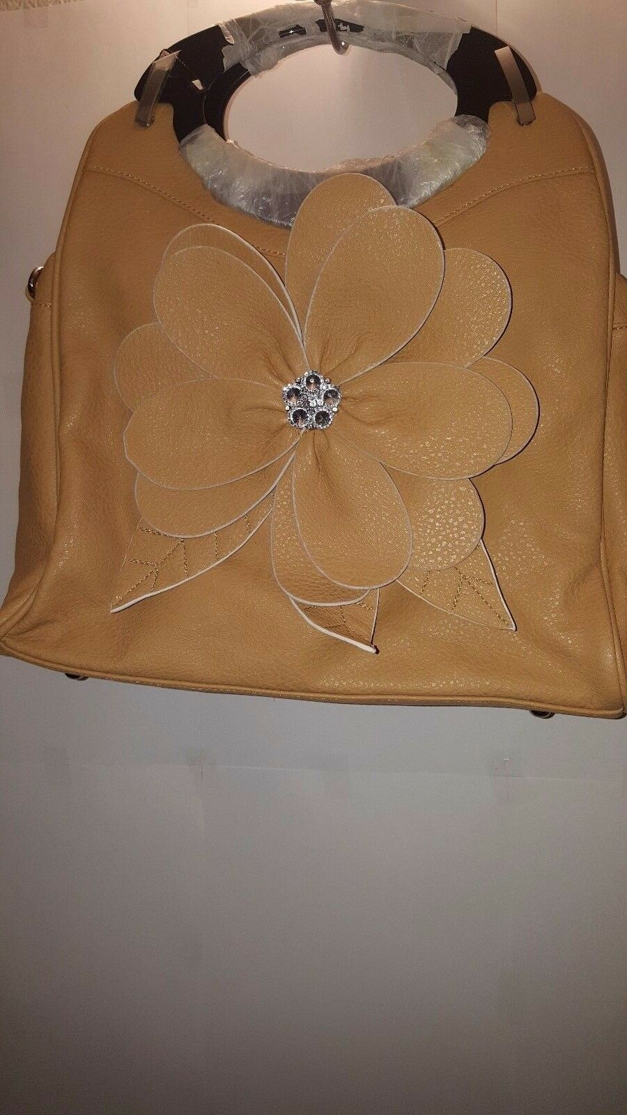 Womens Tan Flower Power Shoulder Purse