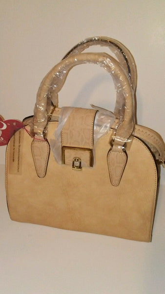 Womens Rimen & Co Taupe Shoulder Handbag Purse With Gold Hardware