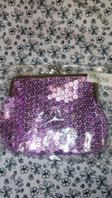 Load image into Gallery viewer, Purple, Silver, Ladies Girls Sequin Coin Purse with Metal Clasp Small