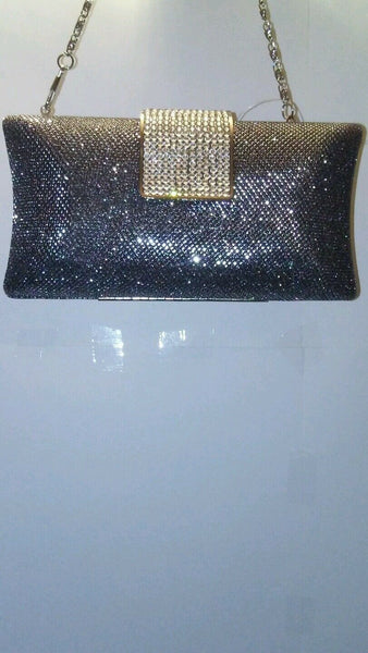 Womens Glitter Silver Gold And Gray Holiday Prom Evening Clutch Purse