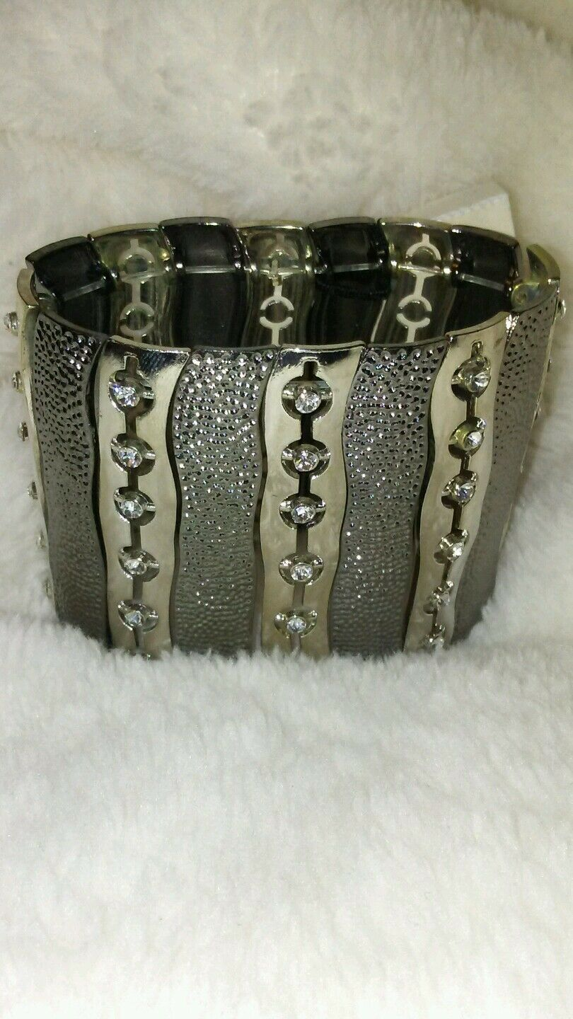 Womens Silver Cuff Bracelet with Gorgeous Rhinestones