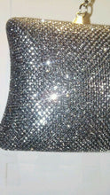Load image into Gallery viewer, Womens Black Gold Gray Metallic Sparkle Prom Holiday Evening Clutch Purse