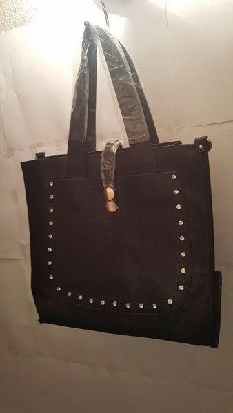 Womens Black Coal Shoulder Purse with Rhinestone Details