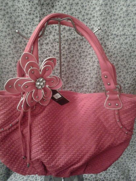 Pink Faux Leather Purse With A Gorgeous Rhinestone Flower