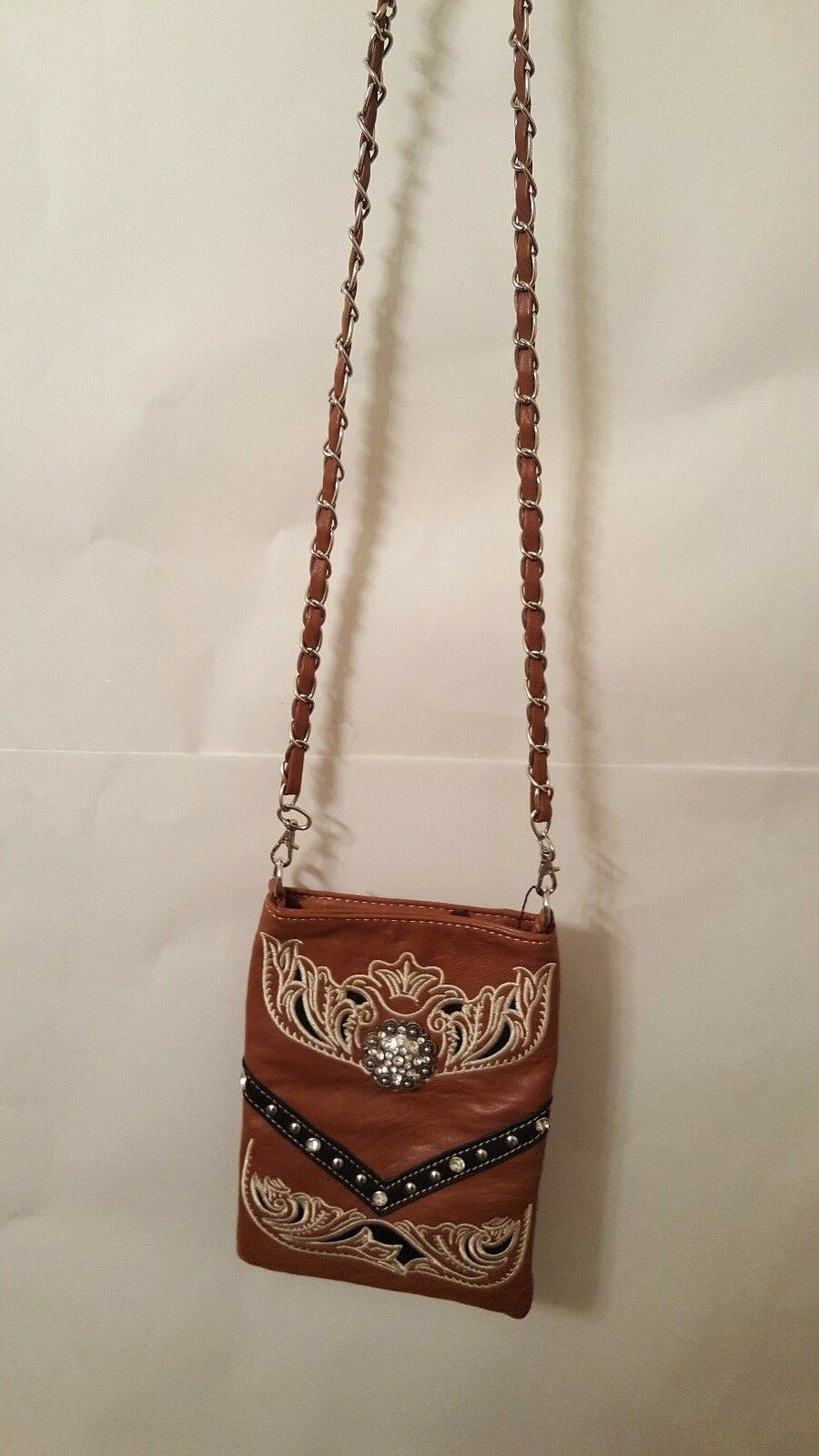 Womens Dark Brown Cross Body Purse with Embrodery And A Crystal Concho