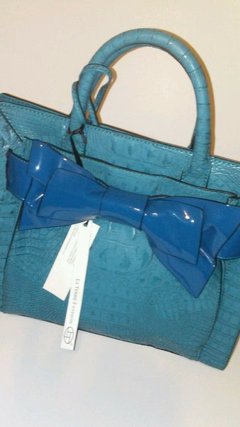 Womens Blue Bow Tie Shoulder Purse
