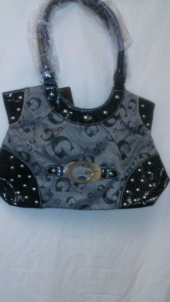 Womens Black G Studded Shoulder Hand Bag Purse
