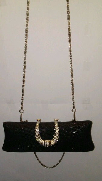 Womens Black Gold Gray Metallic Sparkle Prom Holiday Evening Clutch Purse
