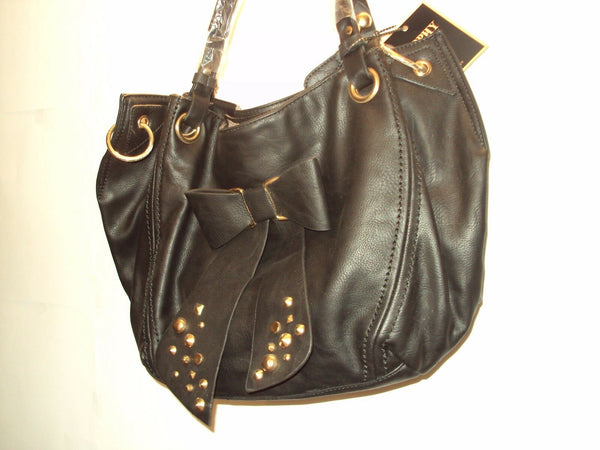 Womens Black Bowtie Handbag with Gold Studds