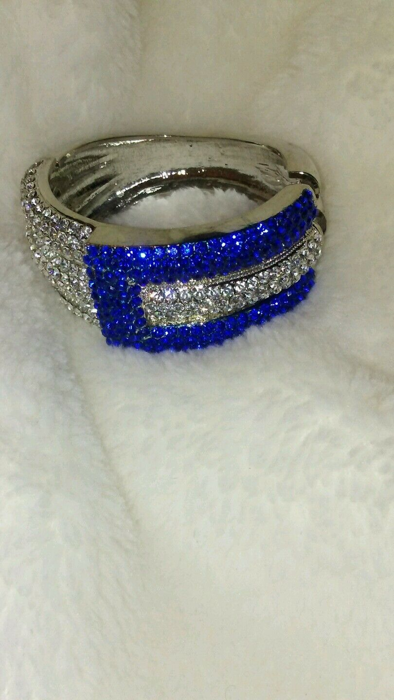 Womens Blue And Silver Rhinestone Bracelet
