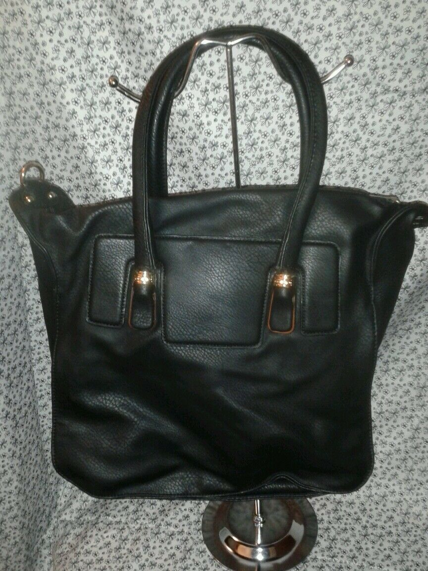 Womens Black Coal Colored Shoulder Handbag Purse