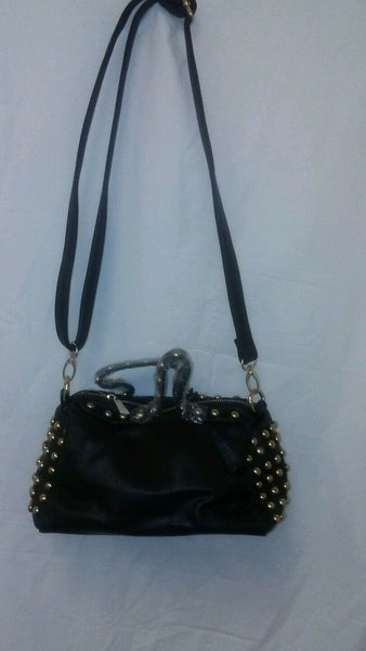 Womens Black Gold Studded Purse