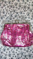 Purple, Silver, Ladies Girls Sequin Coin Purse with Metal Clasp Small