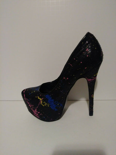 Paint Splatter Stileto High Heel  7.5