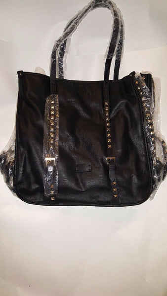 Womens Black Gold Square Studded Casual Evening Purse