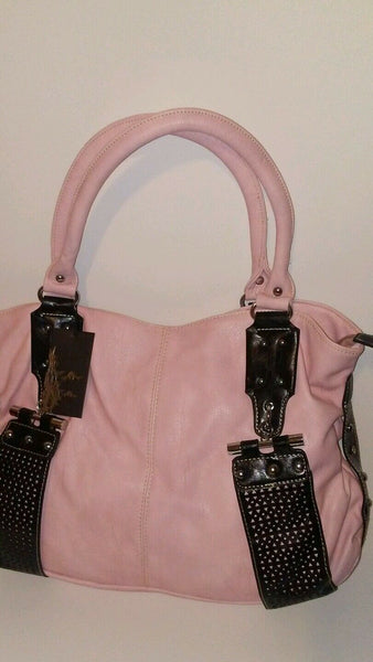 Womens Pink Flamingo Shoulder Purse with Studd Detail