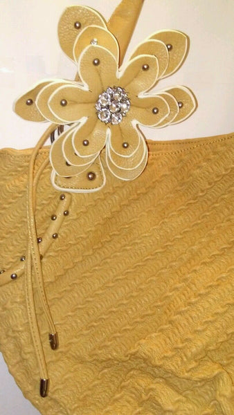 Womens Beige Shoulder Purse With A Gorgeous Rhinestone Flower