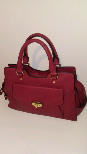 Womens Burgundy Red Shoulder Handbag Purse