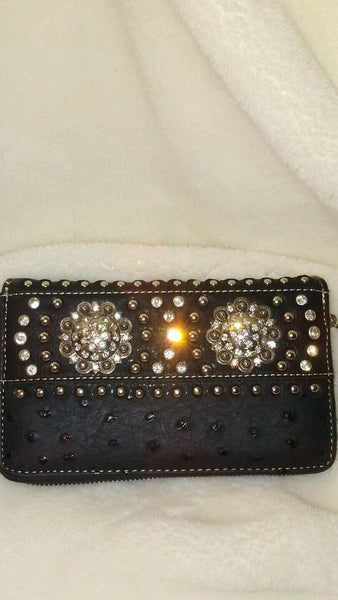 Montana West Cowgirl Black Wristlet  Wallet