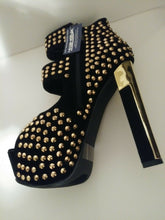 Load image into Gallery viewer, Womens Black Velvet Gold Studded Short Boots 8 1/2