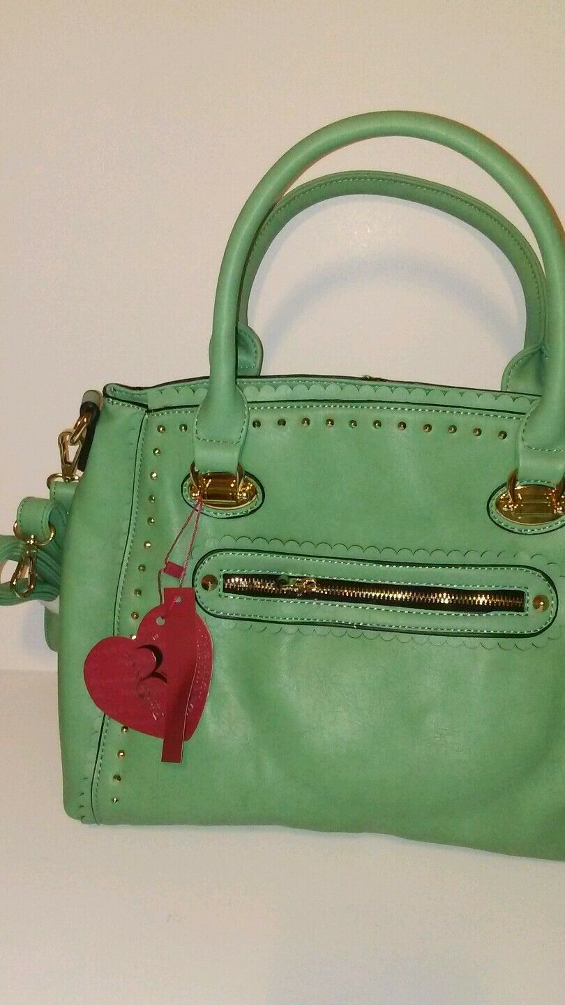 Womens Mint Green Apple Shoulder Handbag Purse With Gorgeous Studs