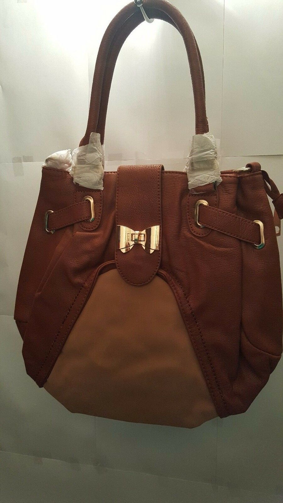 Womens Brown Large Leather And Suede Tea Purse