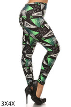 Load image into Gallery viewer, Womens Green Chene Plus Size Leggings XL 1X 2X