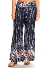 Load image into Gallery viewer, Womens Pink And Blue Floral Designed Bolero Wide Leg Flare Pants XL, 2X, 3X