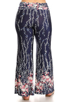 Womens Pink And Blue Floral Designed Bolero Wide Leg Flare Pants XL, 2X, 3X