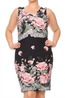 Womens Pink And Black Floral Print Bodycon Dress with A V Neckline XL, 2X, 3X